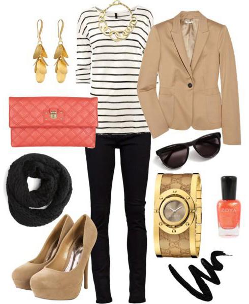 black-skinny-jeans-black-tee-stripe-tan-jacket-blazer-howtowear-fashion-style-outfit-spring-summer-chain-necklace-earrings-black-scarf-pumps-watch-orange-bag-clutch-nail-sun-work.jpg
