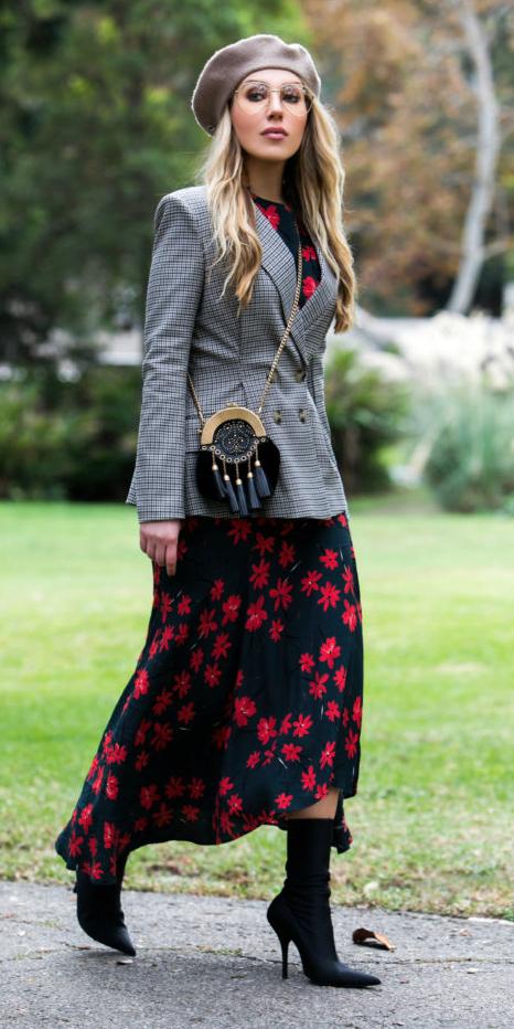 black-dress-midi-floral-print-tan-jacket-blazer-plaid-black-bag-beret-blonde-black-shoe-booties-fall-winter-lunch.jpg