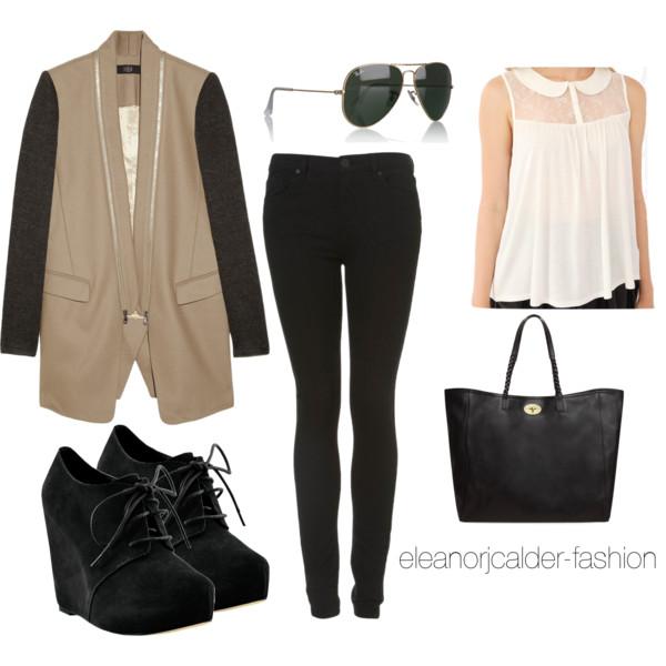 black-skinny-jeans-white-top-blouse-black-bag-tote-style-outfit-fall-winter-tan-jacket-blazer-boyfriend-wedge-black-shoe-booties-sun-lunch.jpg
