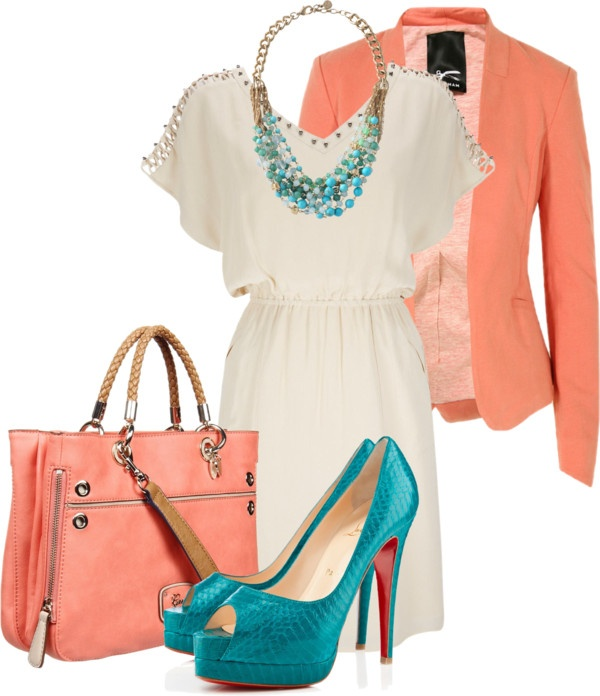 white-dress-mini-blue-shoe-pumps-bib-necklace-turquoise-peach-jacket-blazer-peach-bag-howtowear-fashion-style-outfit-spring-summer-lunch.jpg