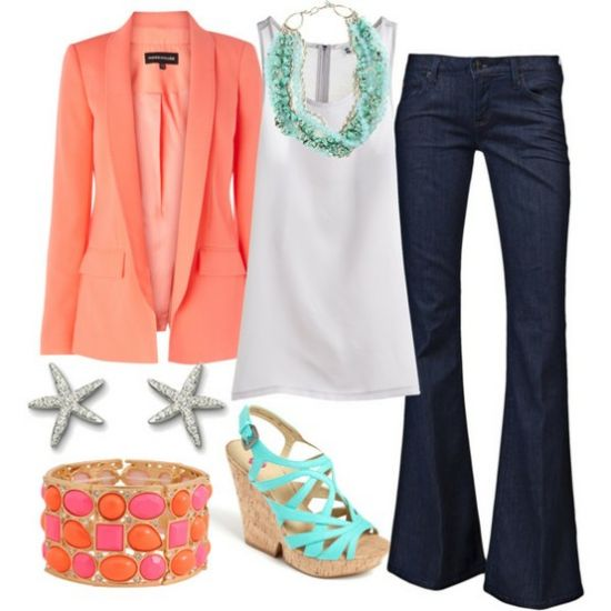 blue-navy-flare-jeans-white-cami-o-peach-jacket-blazer-blue-shoe-sandalw-howtowear-fashion-style-outfit-spring-summer-bracelet-studs-necklace-work.jpg