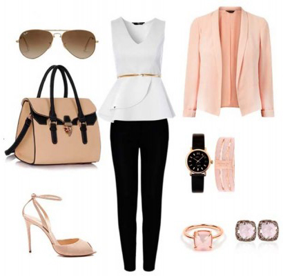 black-slim-pants-white-top-skinny-belt-peach-jacket-blazer-tan-shoe-sandalh-ring-watch-studs-sun-tan-bag-howtowear-fashion-style-outfit-spring-summer-dinner.jpg