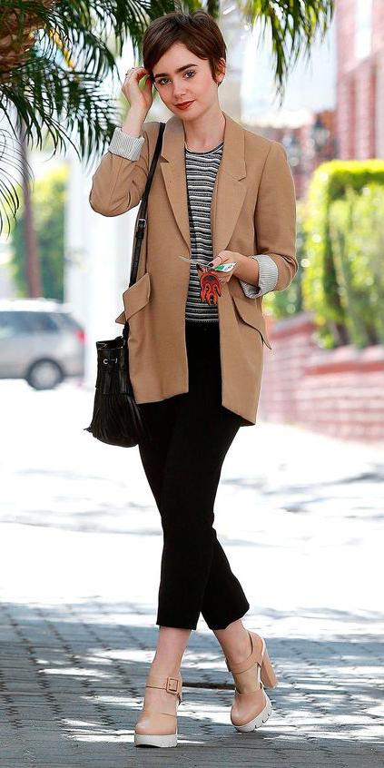 black-slim-pants-black-tee-stripe-o-camel-jacket-blazer-black-bag-tan-shoe-sandalh-howtowear-lilycollins-celebrity-street-oversized-spring-summer-brun-work.jpg
