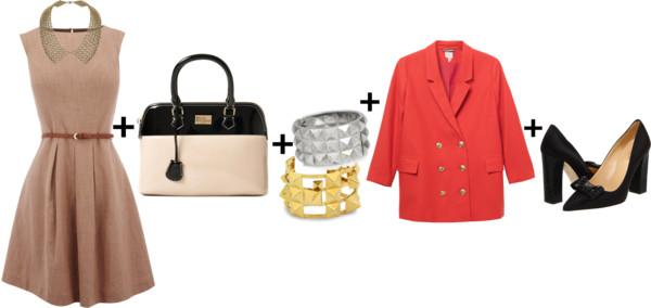 how-to-style-tan-dress-aline-shift-black-shoe-pumps-orange-jacket-blazer-bracelet-fall-winter-fashion-boyfriend-work.jpg