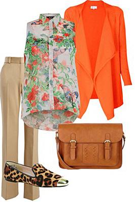 o-tan-wideleg-pants-green-emerald-top-blouse-print-orange-jacket-blazer-tan-shoe-flats-leopard-cognac-bag-howtowear-fashion-style-outfit-spring-summer-work.jpg