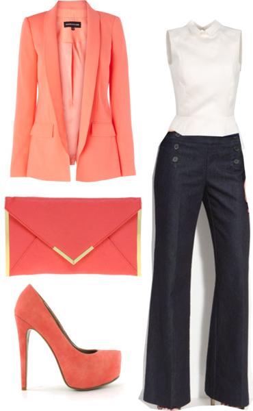 blue-navy-flare-jeans-white-top-orange-jacket-blazer-orange-bag-orange-shoe-pumps-howtowear-fashion-style-outfit-spring-summer-work.jpg
