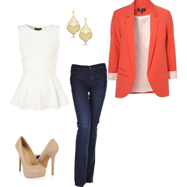 blue-navy-flare-jeans-white-top-peplum-orange-jacket-blazer-tan-shoe-pumps-earrings-howtowear-fashion-style-outfit-spring-summer-work.jpg