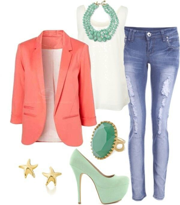 blue-med-skinny-jeans-white-cami-orange-jacket-blazer-green-shoe-pumps-necklace-ring-studs-howtowear-fashion-style-outfit-spring-summer-lunch.jpg