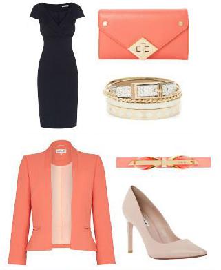 blue-navy-dress-orange-jacket-blazer-crop-skinny-belt-tan-shoe-pumps-bracelet-orange-bag-clutch-shift-howtowear-fashion-style-outfit-spring-summer-work.jpg