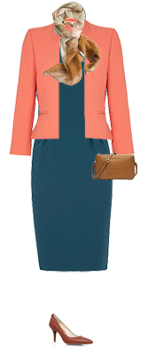 blue-med-dress-orange-jacket-blazer-crop-tan-scarf-print-cognac-bag-cognac-shoe-pumps-shift-howtowear-fashion-style-outfit-spring-summer-teal-work.jpg