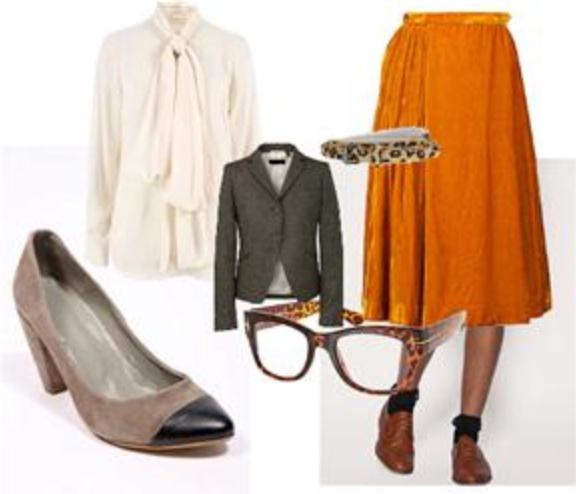 orange-midi-skirt-white-top-blouse-bow-wear-outfit-spring-summer-brown-jacket-blazer-tan-shoe-pumps-leopard-belt-work.jpg