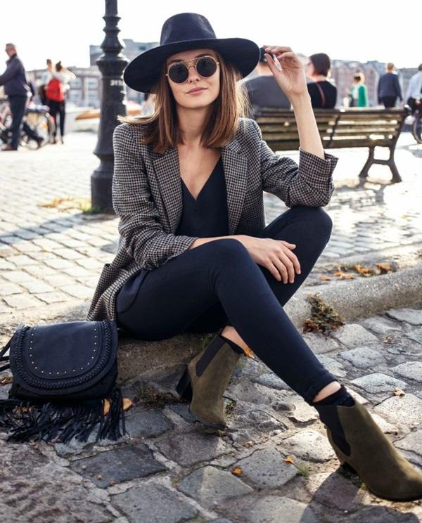 black-skinny-jeans-black-top-brown-jacket-blazer-boyfriend-green-shoe-booties-black-bag-sun-hat-howtowear-fall-winter-hairr-lunch.jpg