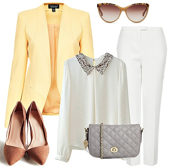white-slim-pants-white-top-blouse-yellow-jacket-blazer-gray-bag-howtowear-fashion-style-outfit-spring-summer-tan-shoe-pumps-sun-office-work.jpg