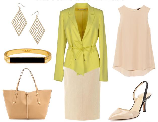 o-tan-pencil-skirt-tan-top-blouse-yellow-jacket-blazer-tan-bag-tote-earrings-tan-shoe-pumps-bracelet-howtowear-fashion-style-outfit-spring-summer-work.jpg