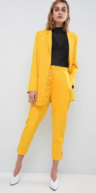 yellow-slim-pants-black-top-black-bralette-suit-yellow-jacket-blazer-blonde-white-shoe-pumps-fall-winter-earrings-lunch.jpg