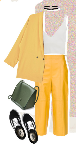 yellow-culottes-pants-white-crop-top-green-bag-black-shoe-sneakers-choker-yellow-jacket-blazer-boyfriend-fall-winter-lunch.jpg