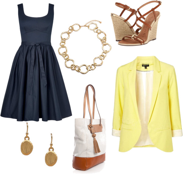 blue-navy-dress-aline-yellow-jacket-blazer-white-bag-tote-earrings-necklace-chain-cognac-shoe-sandalw-howtowear-fashion-style-outfit-spring-summer-lunch.jpg