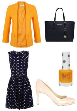 blue-navy-dress-dot-yellow-jacket-blazer-white-shoe-pumps-nail-blue-navy-bag-tote-howtowear-fashion-style-outfit-spring-summer-aline-work.jpg