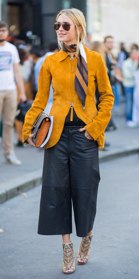 black-culottes-pants-tan-shoe-booties-yellow-jacket-blazer-camel-scarf-stripe-blonde-pony-sun-fall-winter-lunch.jpg