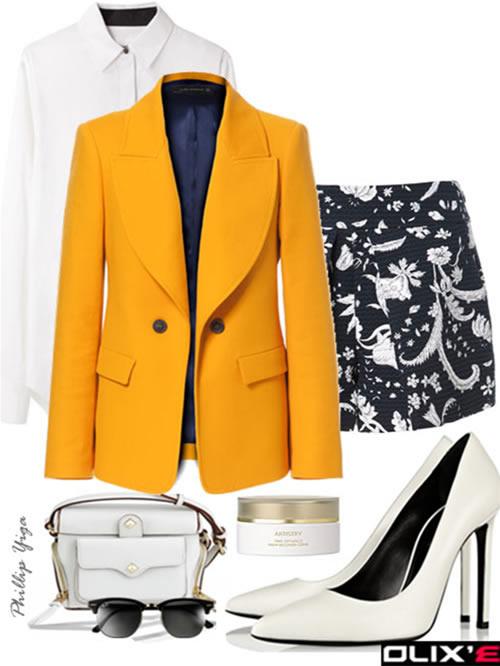 black-shorts-white-top-blouse-yellow-jacket-blazer-print-white-bag-white-shoe-pumps-sun-howtowear-fashion-style-outfit-spring-summer-work.jpg
