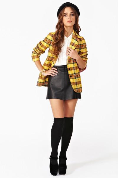 black-mini-skirt-white-top-yellow-jacket-blazer-print-hat-socks-black-shoe-sandalh-wear-style-fashion-fall-winter-plaid-overtheknee-hairr-lunch.jpeg