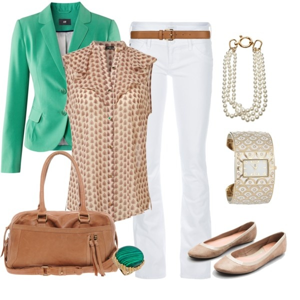 white-flare-jeans-o-tan-top-blouse-dot-print-green-emerald-jacket-blazer-tan-shoe-flats-watch-pearl-necklace-cognac-bag-ring-belt-howtowear-fashion-style-outfit-spring-summer-work.jpg