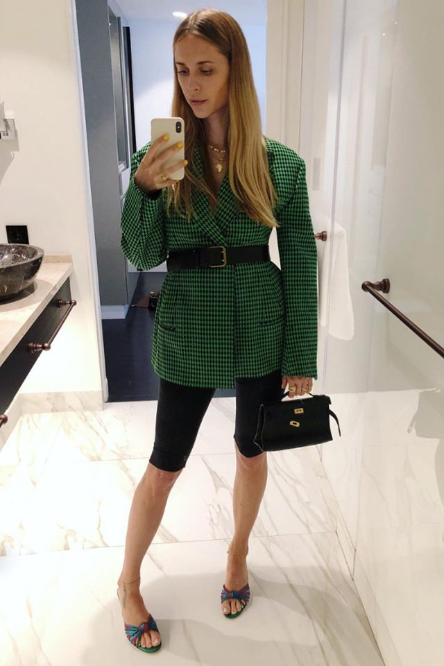 black-shorts-cycling-bike-belt-black-bag-green-emerald-jacket-blazer-blonde-green-shoe-sandalh-mules-spring-summer-lunch.jpg