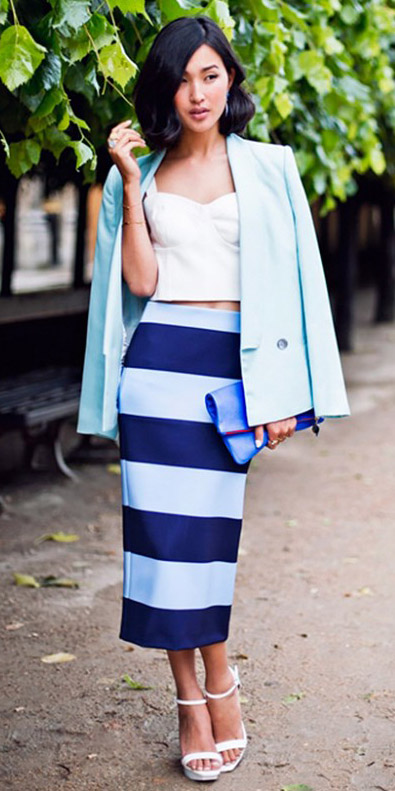 blue-navy-midi-skirt-white-top-bustier-blue-light-jacket-blazer-stripe-print-white-shoe-sandalh-blue-bag-clutch-wear-outfit-spring-summer-pastel-brun-lunch.jpg