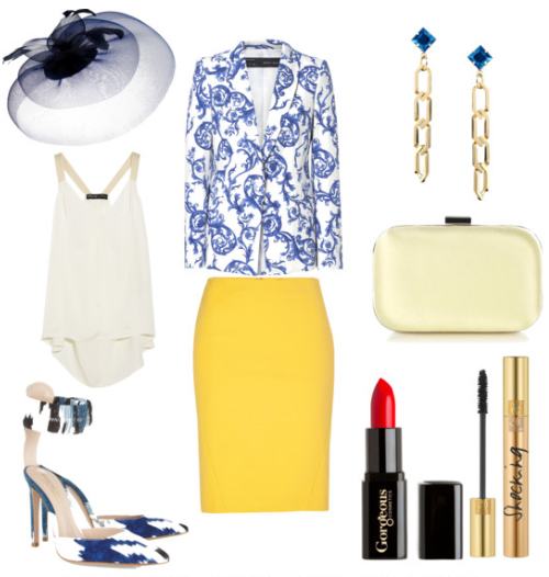 yellow-pencil-skirt-white-cami-blue-med-jacket-blazer-print-earrings-white-bag-clutch-blue-shoe-pumps-races-howtowear-fashion-style-outfit-spring-summer-lunch.jpg