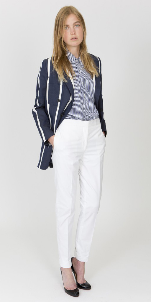 white-slim-pants-blue-navy-collared-shirt-blue-navy-jacket-blazer-howtowear-fashion-style-outfit-spring-summer-stripe-mixed-black-shoe-pumps-blonde-work.jpg