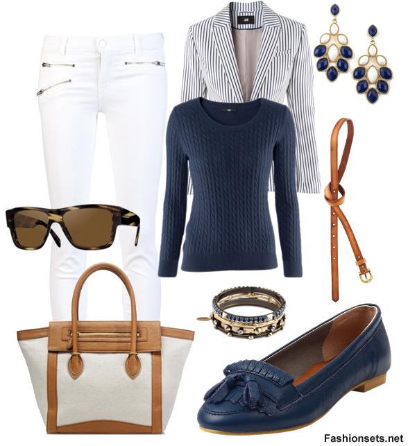 white-skinny-jeans-blue-navy-sweater-blue-navy-jacket-blazer-stripe-blue-shoe-loafers-sun-earrings-belt-white-bag-howtowear-fashion-style-outfit-spring-summer-work.jpg