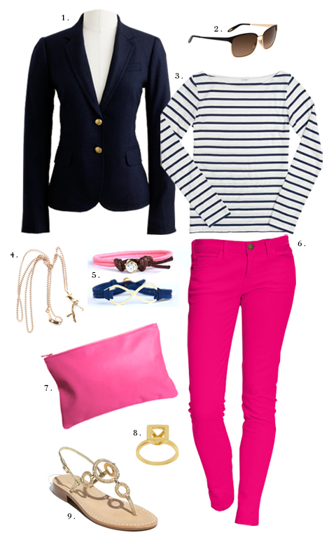 r-pink-magenta-skinny-jeans-blue-navy-tee-stripe-blue-navy-jacket-blazer-tan-shoe-sandals-pink-bag-clutch-sun-howtowear-fashion-style-outfit-spring-summer-lunch.jpg