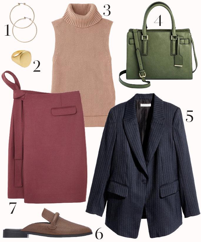 pink-magenta-pencil-skirt-tan-sweater-sleeveless-blue-navy-jacket-blazer-green-bag-hoops-fall-winter-basic-tan-shoe-flats-work.jpg
