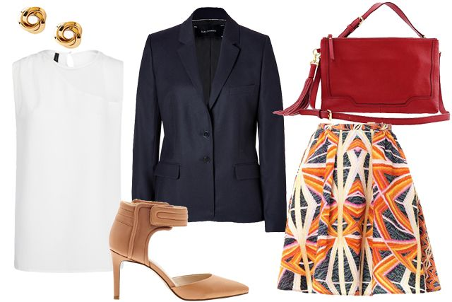 orange-aline-skirt-print-white-top-blouse-blue-navy-jacket-blazer-tan-shoe-pumps-red-bag-studs-howtowear-fashion-style-outfit-spring-summer-work.jpg