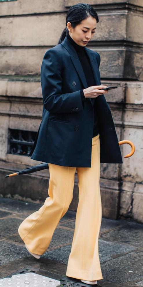 yellow-wideleg-pants-blue-navy-jacket-blazer-brun-pony-fall-winter-work.jpg