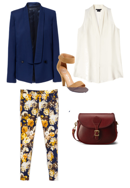 yellow-slim-pants-white-top-blouse-blue-navy-jacket-blazer-floral-burgundy-bag-tan-shoe-sandalh-spring-summer-lunch.jpg