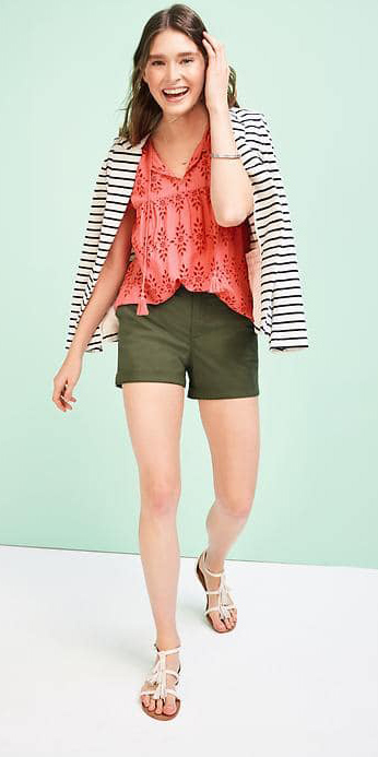 green-olive-shorts-orange-top-peasant-white-shoe-sandals-stripe-blue-navy-jacket-blazer-spring-summer-hairr-weekend.jpg