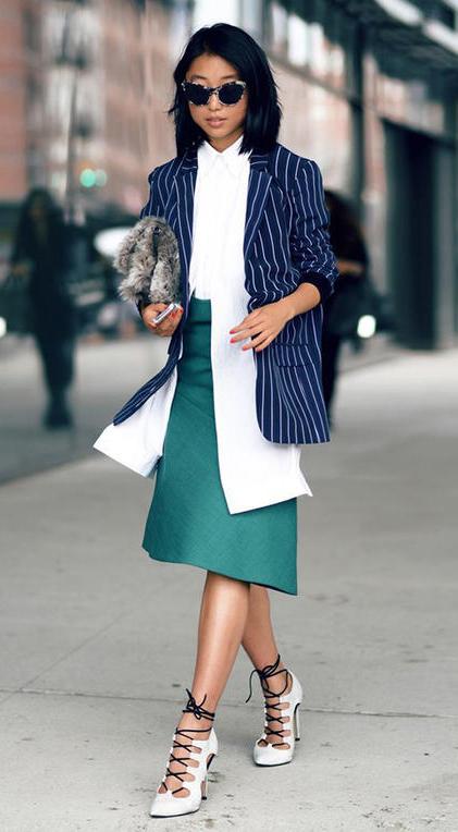 green-dark-midi-skirt-white-collared-shirt-blue-navy-jacket-blazer-pinstripe-brun-sun-white-shoe-sneakers-fall-winter-work.jpg