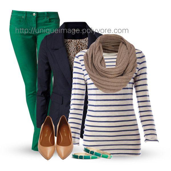 green-emerald-skinny-jeans-blue-navy-tee-stripe-tan-scarf-blue-navy-jacket-blazer-tan-shoe-pumps-bracelet-howtowear-fashion-style-outfit-fall-winter-lunch.jpg