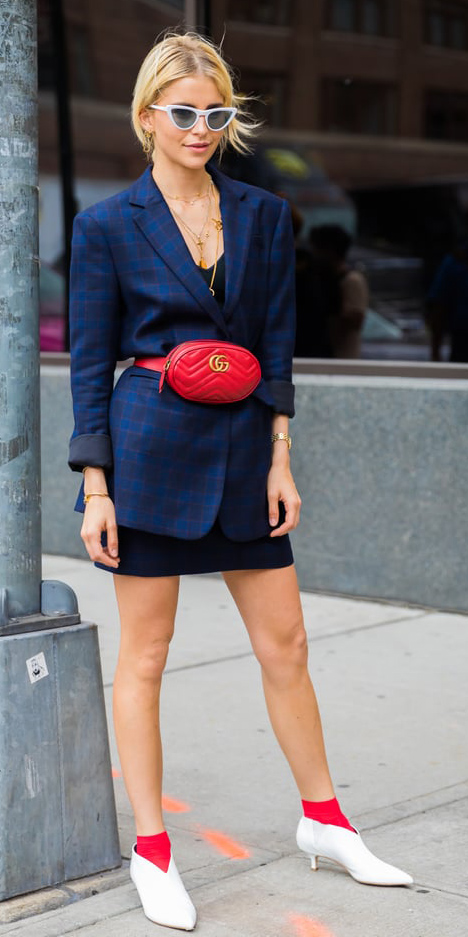blue-navy-dress-bodycon-red-bag-fannypack-sun-necklace-socks-white-shoe-booties-blue-navy-jacket-blazer-blonde-spring-summer-lunch.jpg
