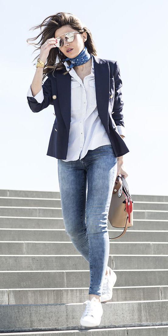 blue-med-skinny-white-collared-shirt-hairr-sun-blue-med-scarf-neck-blue-navy-jacket-blazer-tan-bag-white-shoe-sneakers-spring-summer-weekend.jpg