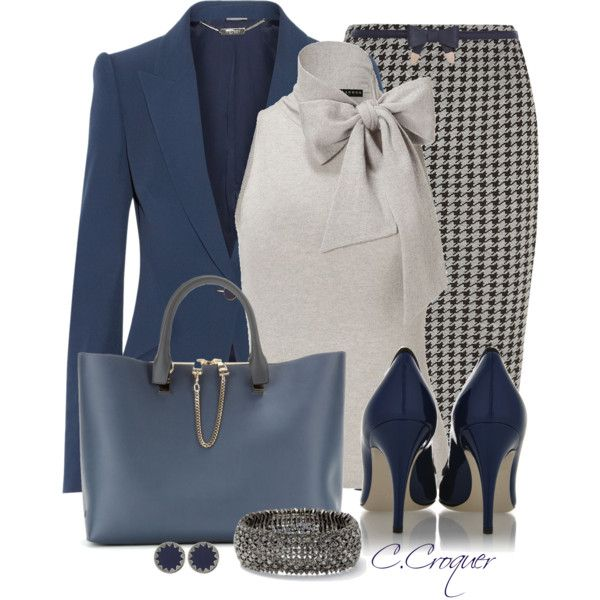 blue-navy-pencil-skirt-grayl-top-blue-navy-jacket-blazer-blue-shoe-pumps-blue-bag-tote-howtowear-fashion-style-outfit-fall-winter-herringbone-print-bow-bracelet-studs-work.jpg