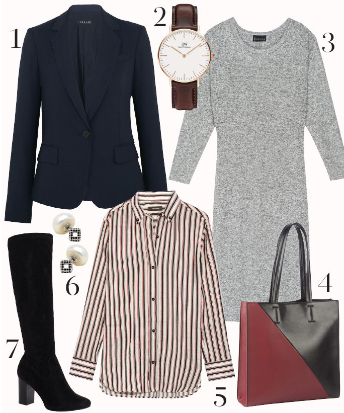 grayl-dress-tan-collared-shirt-stripe-blue-navy-jacket-blazer-studs-watch-burgundy-bag-tote-black-shoe-pumps-sweater-layer-howtowear-fashion-style-outfit-fall-winter-work.jpg