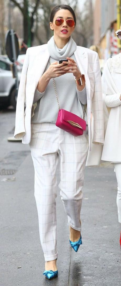 white-joggers-pants-grayl-sweater-turtleneck-pink-bag-sun-bun-hairr-suit-white-jacket-blazer-blue-shoe-pumps-fall-winter-lunch.jpg