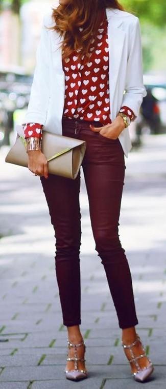 burgundy-skinny-jeans-red-collared-shirt-heart-print-white-jacket-blazer-tan-shoe-pumps-tan-bag-clutch-fall-winter-hairr-dinner.jpg