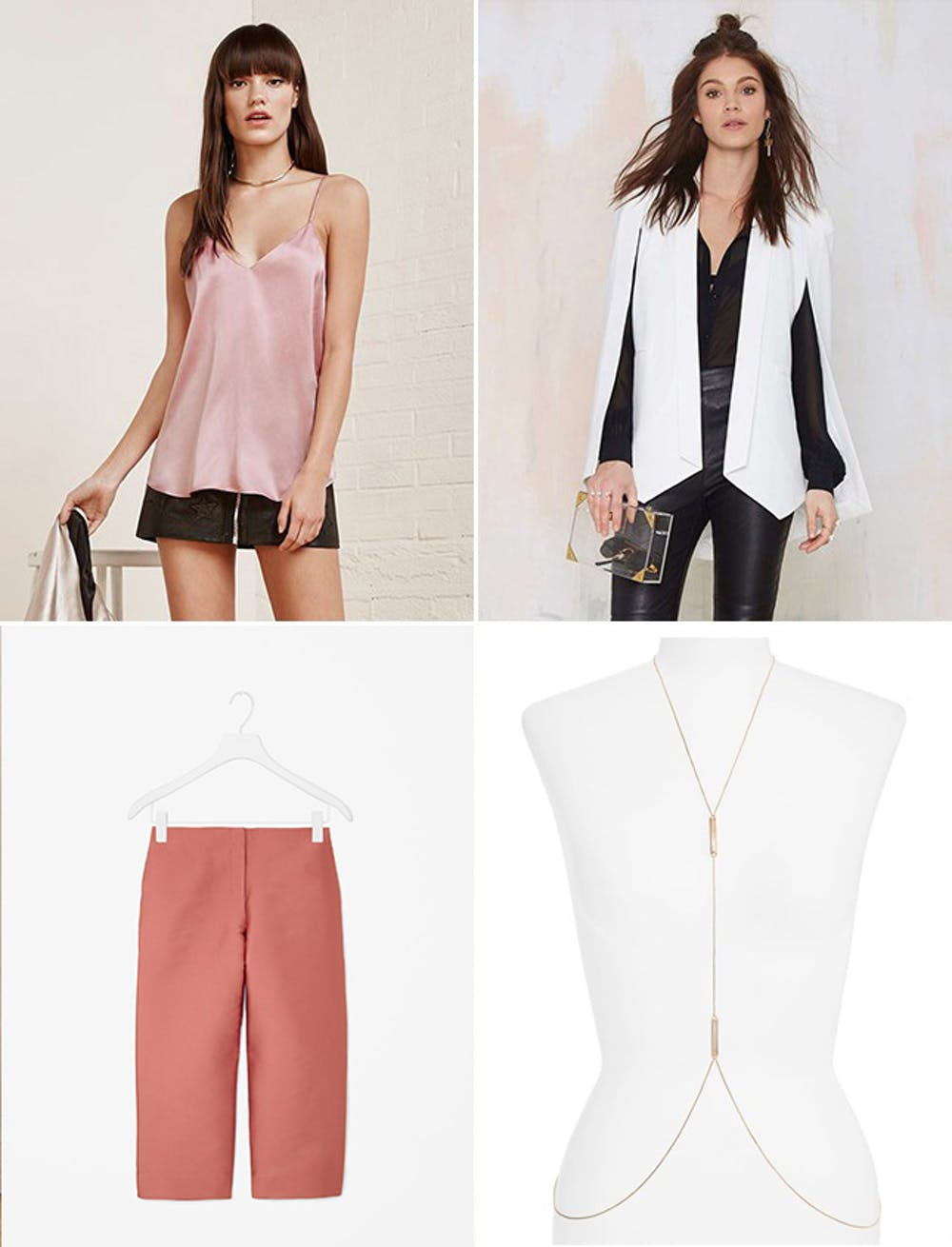 what-to-wear-for-a-spring-wedding-guest-outfit-pink-light-culottes-pants-pink-light-cami-white-jacket-blazer-necklace-dinner.jpg