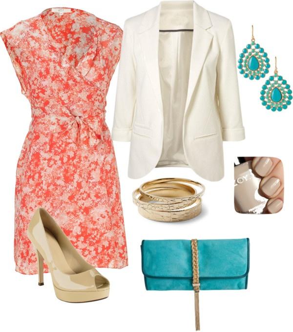 orange-dress-wrap-print-white-jacket-blazer-earrings-blue-bag-clutch-tan-shoe-pumps-turquoise-nail-howtowear-fashion-style-outfit-spring-summer-work.jpg