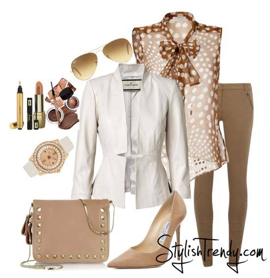 tan-leggings-tan-skinny-jeans-camel-top-dot-bow-print-white-jacket-blazer-tan-shoe-pumps-tan-bag-sun-watch-fashion-outfit-spring-summer-work.jpg