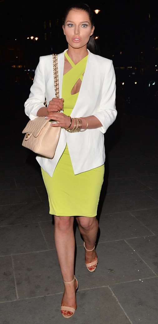 yellow-dress-white-jacket-blazer-tan-shoe-sandalh-tan-bag-pony-bodycon-chartreuse-wear-style-fashion-spring-summer-hairr-dinner.jpg