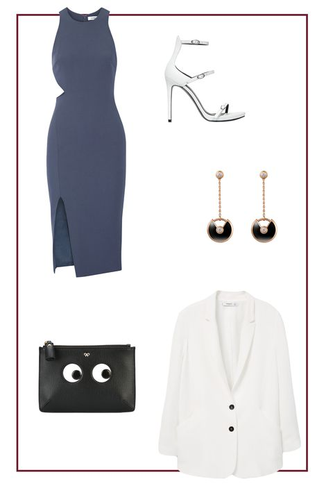 what-to-wear-for-a-spring-wedding-guest-outfit-blue-navy-dress-bodycon-white-shoe-sandalh-earrings-black-bag-clutch-white-jacket-blazer-dinner.jpg